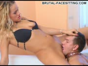 Mistress Brutal Facesitting And Handjob With Her Slave
